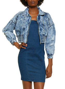 Destroyed Cropped Hem Denim Jacket - 3075063409923