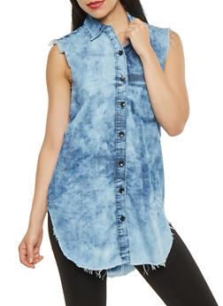 High Low Frayed Chambray Shirt - 3075063409933