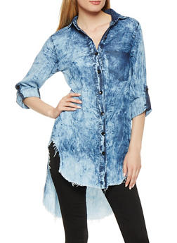 Acid Wash Chambray High Low Shirt - 3075063409993