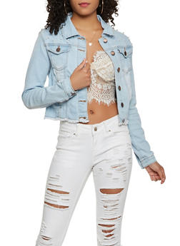 VIP Faux Pearl Studded Denim Jacket - 3075065307088
