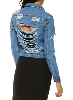 VIP Rhinestone Chain Shredded Denim Jacket - 3075065307099