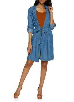 Chambray Tie Waist Duster - 3075069390308
