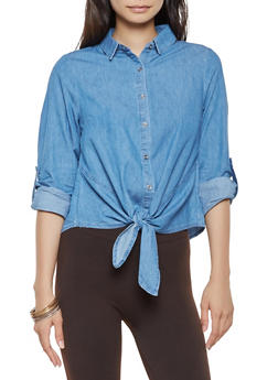 Denim Tie Front Shirt - 3075069391108