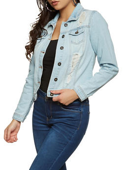 Highway Distressed Frayed Jean Jacket - 3075071310085