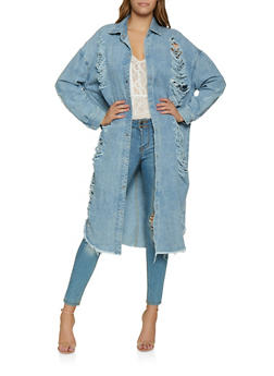 Highway Long Shredded Jean Jacket - 3075071312311