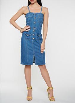 Denim Button Front Dress - 3075071316318