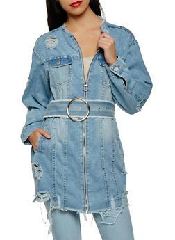 Distressed Zip Front Belted Denim Jacket - 3075071316322