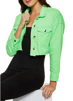 Highway Frayed Denim Jacket - NEON LIME - 3075071317137