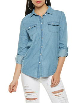 Faux Pearl Button Front Chambray Top - 3075071318379