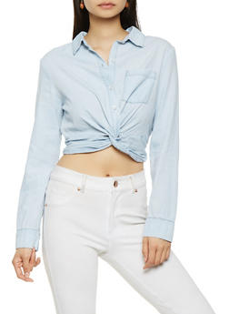 Twist Front Chambray Crop Top - 3075071318413