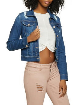 WAX Basic Distressed Denim Jacket - 3075071610126