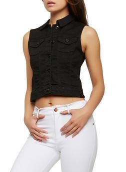 WAX Basic Denim Vest - BLACK - 3075071610911