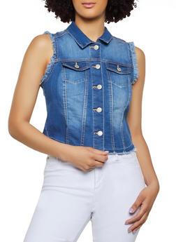 WAX Frayed Denim Vest - 3075071617333