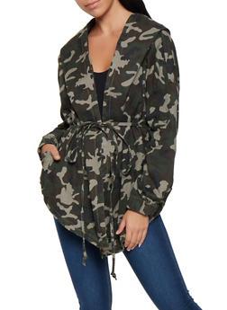 Camo Tie Waist Hooded Jacket - 3075072291001