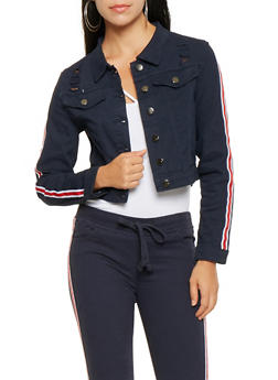 Striped Ribbon Trim Jean Jacket - 3075072291442