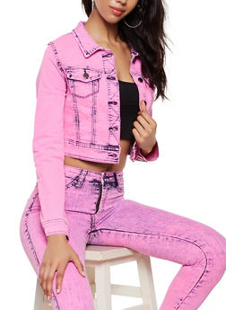 Cropped Acid Wash Jean Jacket - FUCHSIA - 3075072294466
