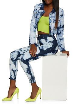Cropped Tie Dye Jean Jacket - 3075072294533