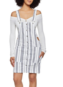 Almost Famous Striped Denim Overall Dress - 3076015990777