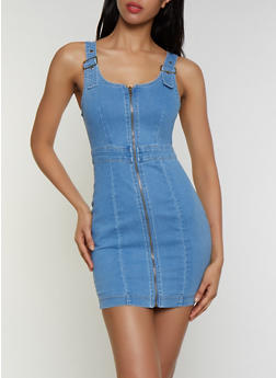 Buckle Strap Denim Dress - 3076038201002