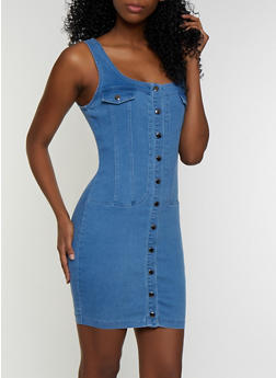 Button Front Denim Dress - 3076038201005