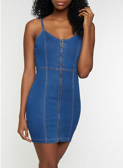 Zip Front Mini Denim Dress - 3076038201011