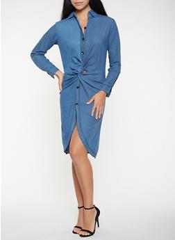 Twist Front Chambray Shirt Dress - 3076063408898