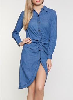 Twist Front Denim Shirt Dress - 3076063408988