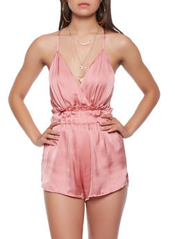 Open Back Satin Romper - 3076068196537