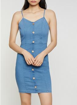 Sleeveless Denim Bodycon Dress - 3076069394184