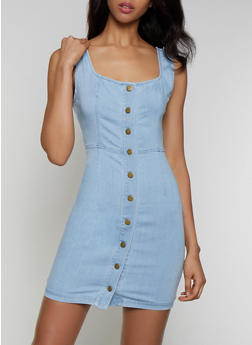 Button Front Denim Bodycon Dress - 3076069394228
