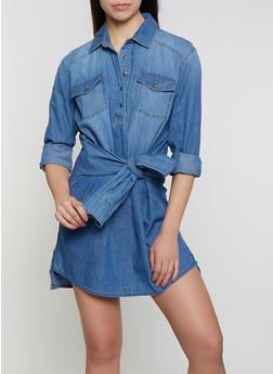 Highway Tie Front Denim Shirt Dress - 3076071316403