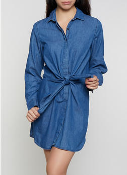 Highway Tie Front Denim Shirt Dress - 3076071316406