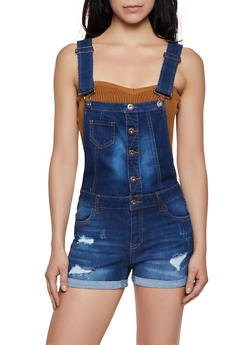 WAX Button Front Denim Shortalls - 3076071611478