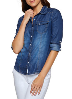 Chambray Tabbed Sleeve Shirt - 3077051062032