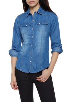 Tabbed Sleeve Button Front Denim Shirt - 3077051062406