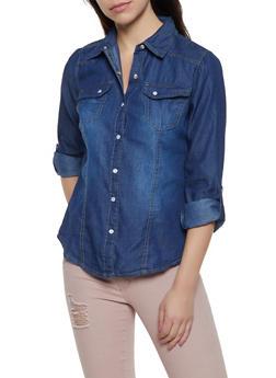 Tabbed Sleeve Button Front Denim Shirt - 3077051062406