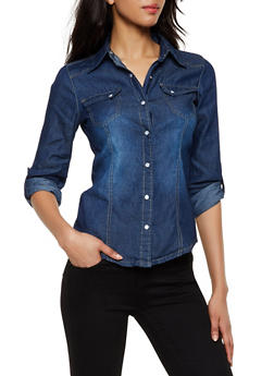 Denim Snap Front Shirt - 3077051062791