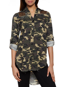 Camo Fishnet Detail High Low Shirt - 3077063401160