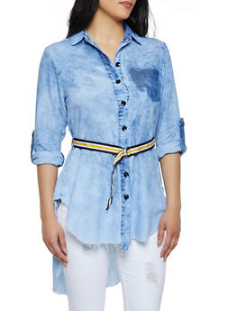 Frayed Belted Button Front Tunic - 3077063401406