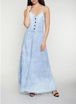 Star Print Denim Maxi Dress - 3077063402371