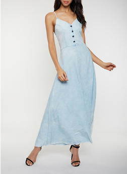 Half Button Chambray Maxi Dress - 3077063402373