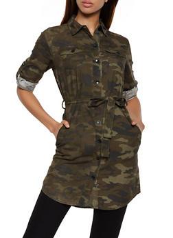 Belted Camo Tunic Shirt - 3077063402991