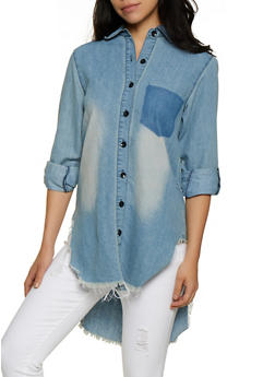 Frayed High Low Denim Shirt - 3077063404400