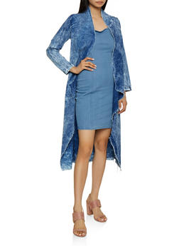 Frayed Acid Wash Chambray Duster - 3077063407568