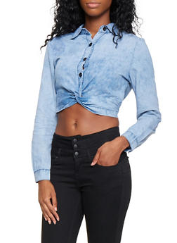 Cropped Twist Front Chambray  Shirt - 3077063408899