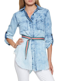 Belted Chambray Shirt - 3077063409231