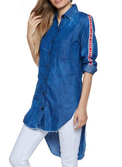 Love Tape Raw Hem Denim Shirt - 3077063409973