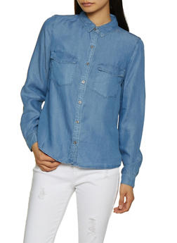 Chambray Button Front Shirt - 3077069390179