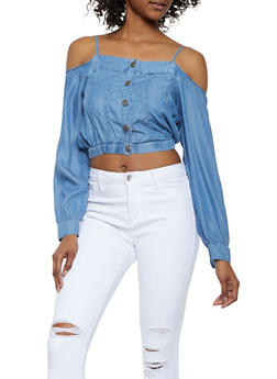 Chambray Cold Shoulder Shirt - 3077069391457