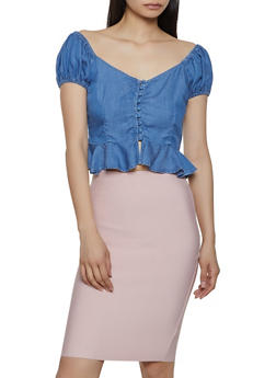 Button Front Peplum Chambray Top - 3077069391499
